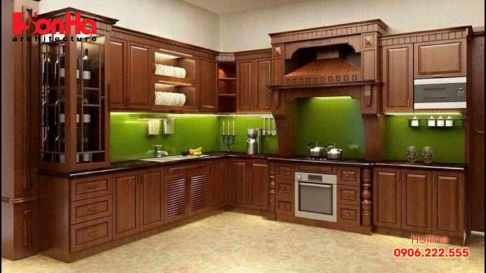 Không gian bếp đẹp với tủ bếp gỗ thịt cho nhà phố tiện nghi