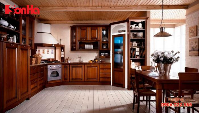 Không gian bếp với tạo hình linh hoạt làm nên sự ấm cúng