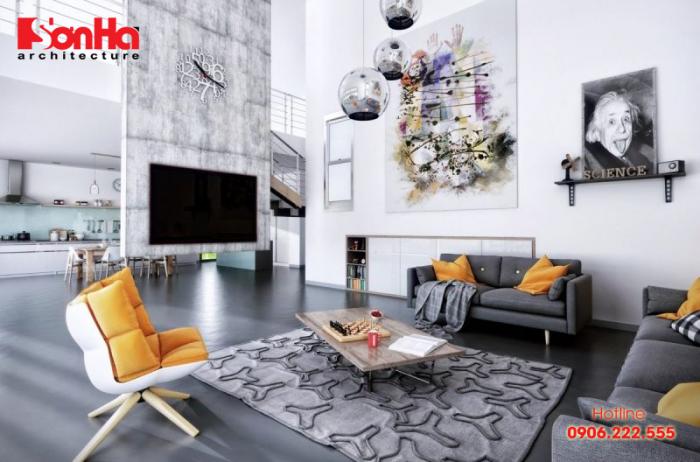 Không gian nội thất phòng khách hiện đại căn hộ nội thất công nghiệp