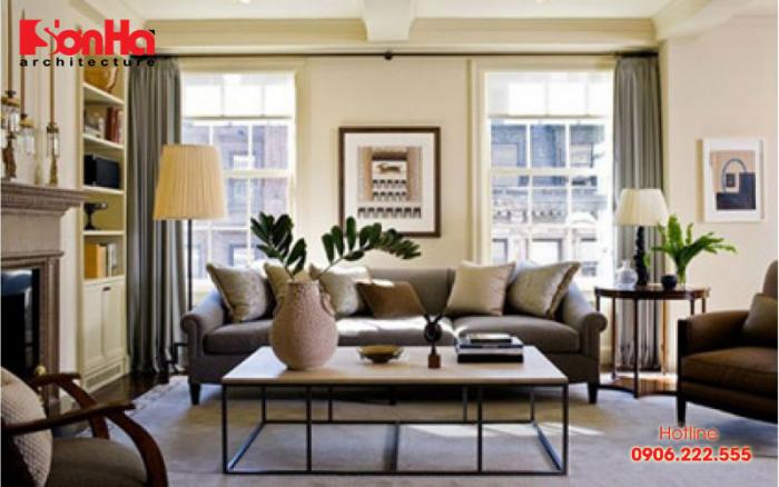 Không gian phòng khách sang trọng với cách sắp xếp bố trí nội thất khoa học