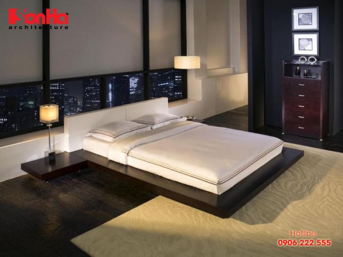Không gian phòng ngủ kiểu Nhật nổi bật là sự sắp xếp đồ đạc đơn giản tối thiểu