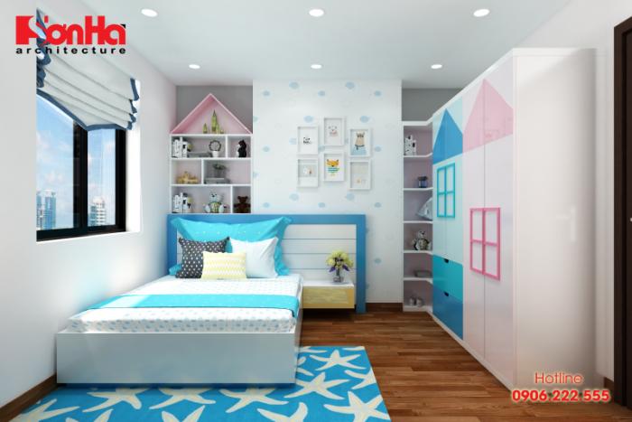 Không gian phòng ngủ trẻ em được trang trí màu sắc đẹp và tươi trẻ