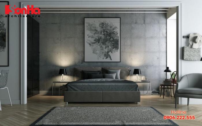 Màu ghi xám làm nên chiều sâu cuốn hút cho không gian phòng ngủ