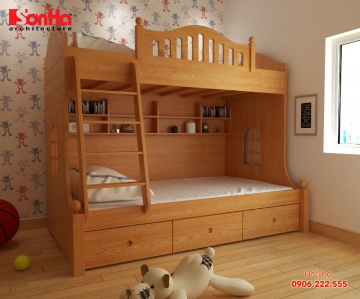 Mẫu giường tầng bằng gỗ cho thiết kế phòng bé trai sinh động