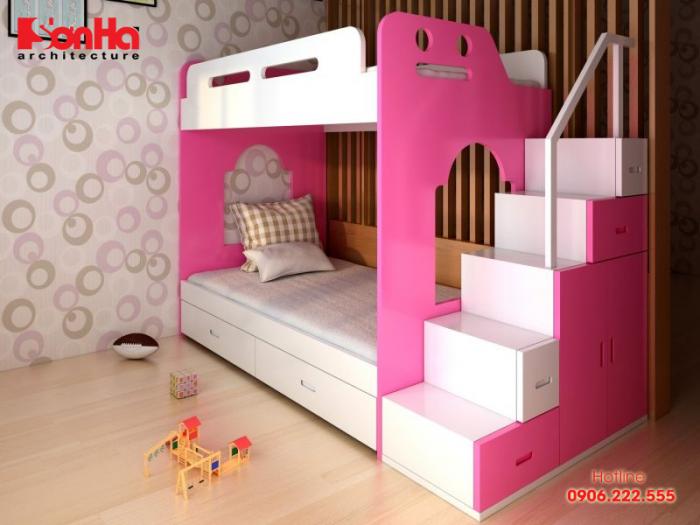 Mẫu giường tầng cho phòng ngủ trẻ em với màu trắng và hồng