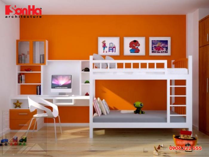 Mẫu giường tầng đơn giản cho bé trai với thiết kế chắc chắn và ấn tượng