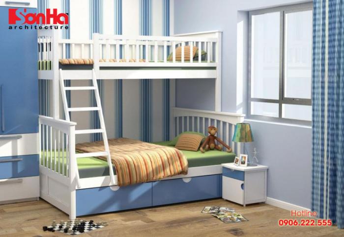 Mẫu giường tầng màu sắc đẹp cho bé trai với thiết kế giản dị ấn tượng