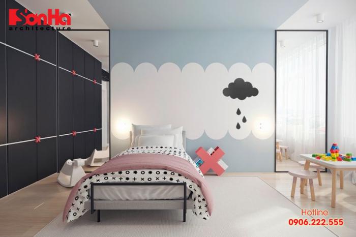 Mẫu phòng ngủ trẻ em thiết kế đơn giản nhưng vô cùng dễ thương