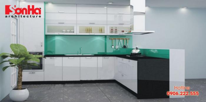 Màu sắc ấn tượng cho không gian bếp ăn nhà phố thêm hút mắt