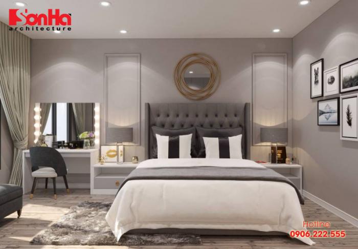 Mẫu thiết kế nội thất phòng ngủ diện tích 18m2 phong cách hiện đại