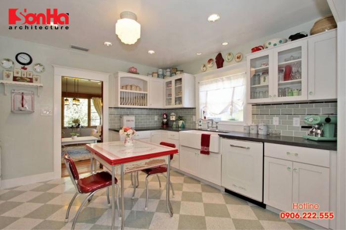 Mẫu thiết kế phòng bếp đẹp phong cách Vintage lãng mạn ấm cúng