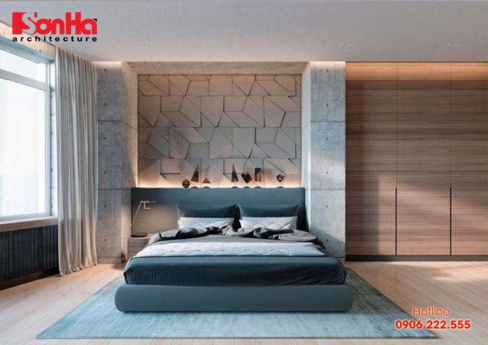 Mẫu thiết kế phòng ngủ đẹp hiện đại ấn tượng bằng vật liệu thô mộc bê tông