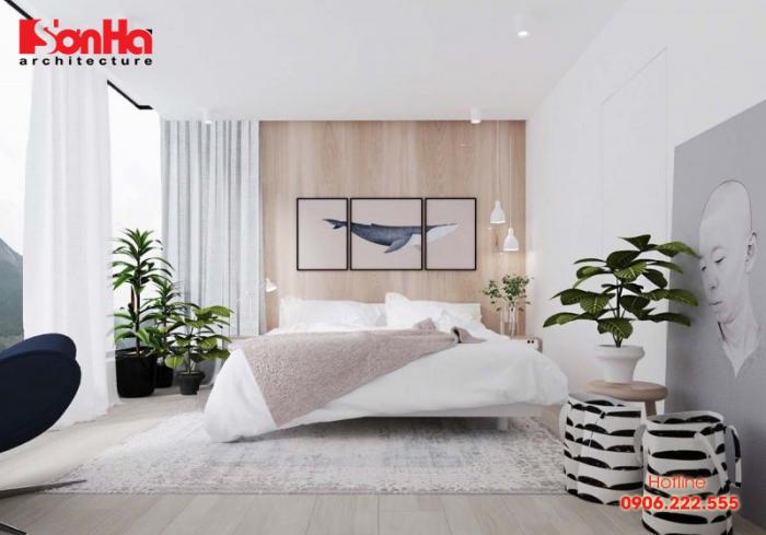 Mẫu thiết kế phòng ngủ diện tích 18m2 có phòng tắm và vệ sinh khép kín