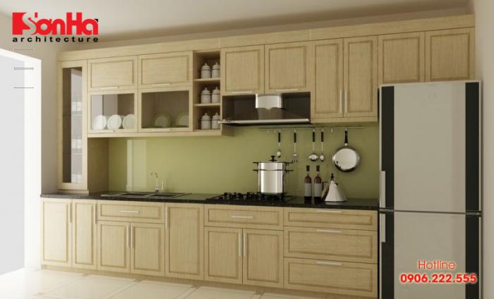 Mẫu tủ bếp chữ L khá thường thất trong thiết kế bếp ăn nhà ống