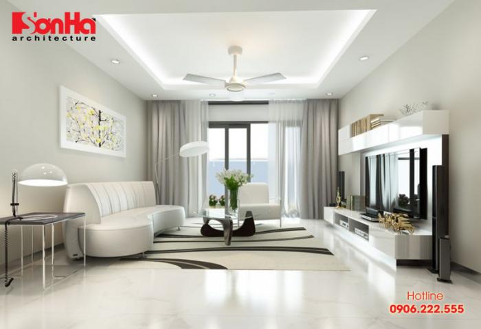 Một ví dụ cho bố trí không gian phòng khách căn hộ hiện đại