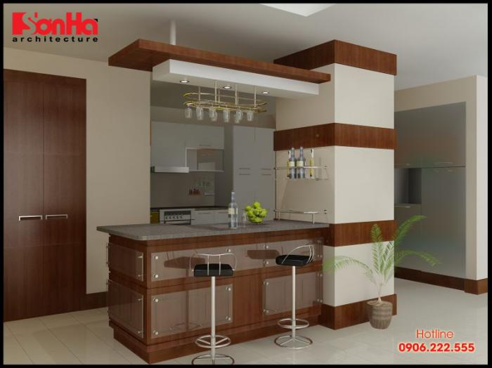 Một ví dụ điển hình trong việc thiết kế tủ bếp có quầy bar liền kề cho căn hộ