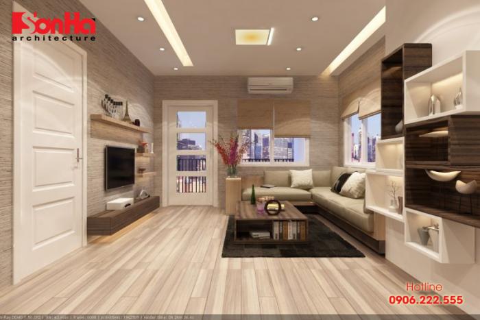 Một ví dụ trong thiết kế phòng khách nhà phố hiện đại phong thủy