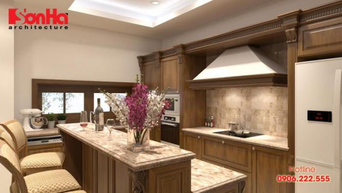 Người ta thường đặt bếp nhà ống gần cầu thang lên tầng ở trung cung ngăn cách