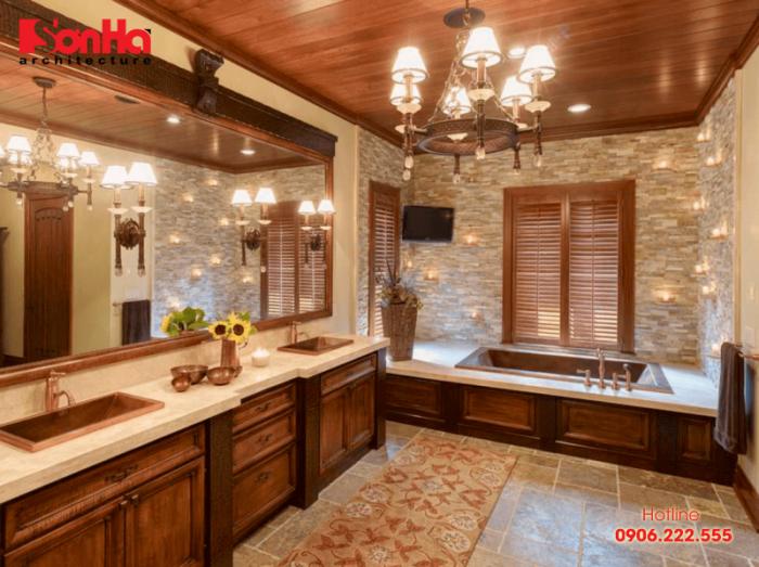 Những thiết kế phòng tắm và vệ sinh đậm nét vương giả cho biệt thự