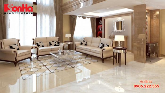 Phòng khách có diện tích lớn nên chọn loại gạch lát nền có màu sắc cá tính, hoa văn