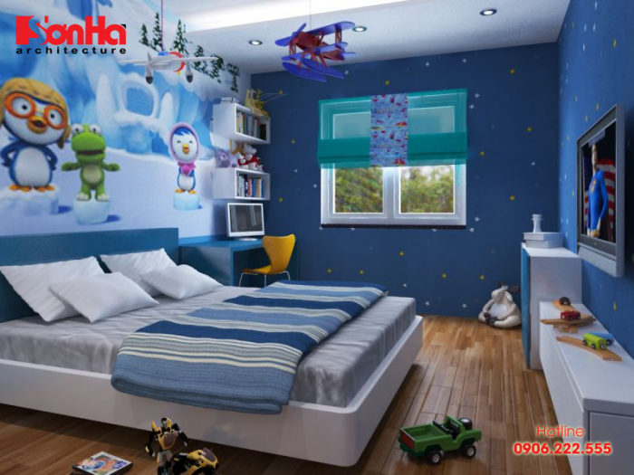 Phòng ngủ bé trai với gam màu xanh dịu mắt cho bé giấc ngủ bình yên