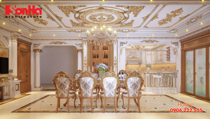 Phương án thiết kế phòng bếp ăn phong cách cổ điển luxury xa hoa đẳng cấp