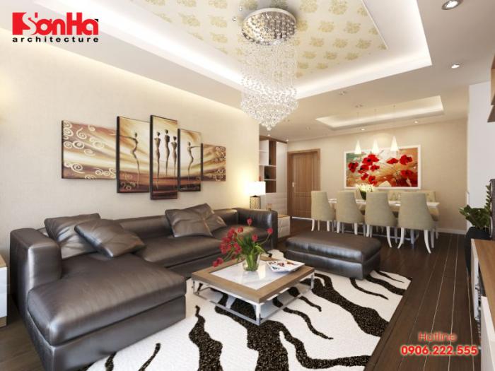 Phương án thiết kế phòng khách hiện đại sang trọng cho căn hộ chung cư
