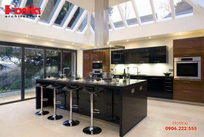 Quầy bar mini điểm nhấn cho không gian bếp ăn đẹp mắt và hiện đại
