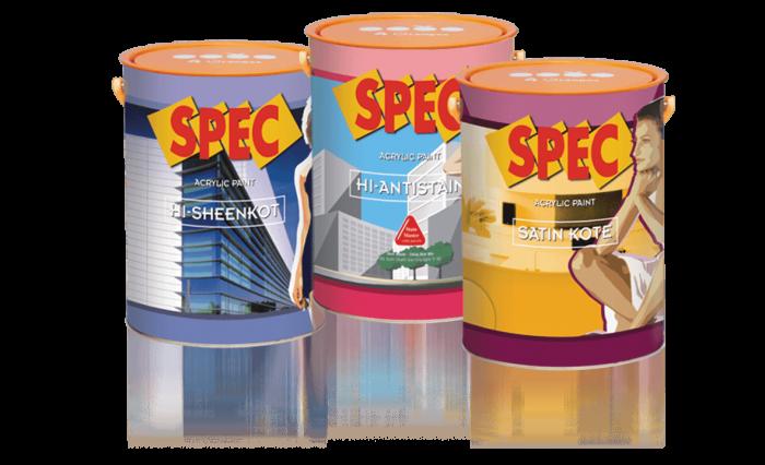 Sơn chống thấm Spec được kết cấu đặc biệt bởi 2 dòng nhựa Acrylic và Styrene Acrylic