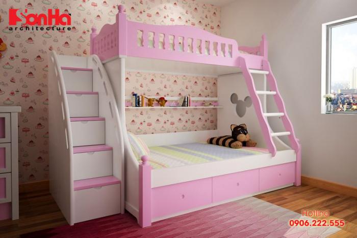 Thêm một mẫu giường tầng gam màu tươi trẻ cho nội thất phòng bé gái