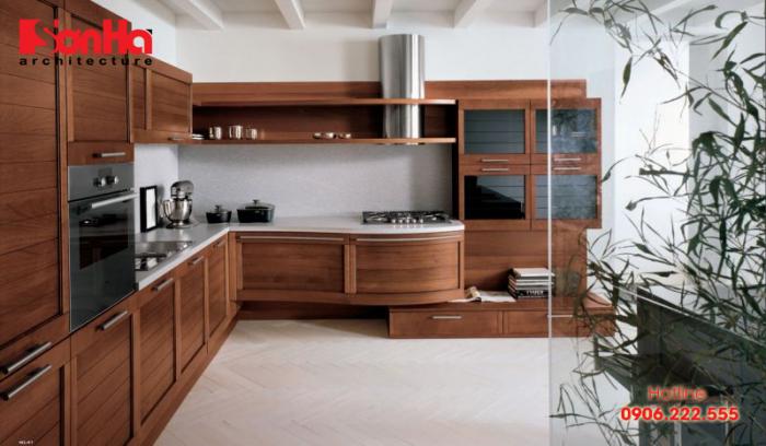 Thêm một mẫu thiết kế không gian bếp đẹp vơi tủ bếp gỗ chữ L