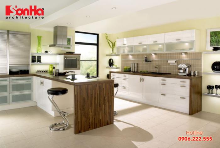 Thiết kế nội thất phòng bếp ăn phong cách hiện đại cho nhà phố tiện nghi