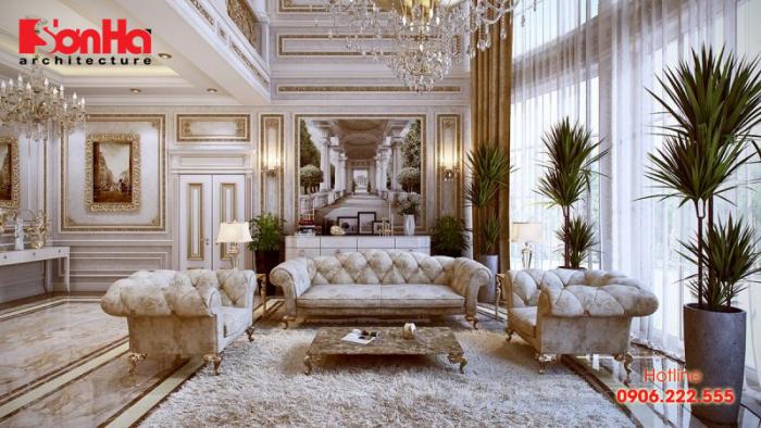 Thiết kế nội thất phòng khách biệt thự sang trọng theo phong cách cổ điển thời đại