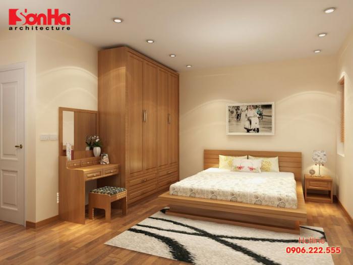Thiết kế nội thất phòng ngủ hiện đại 18m2 sử dụng chất liệu gỗ tự nhiên cao cấp