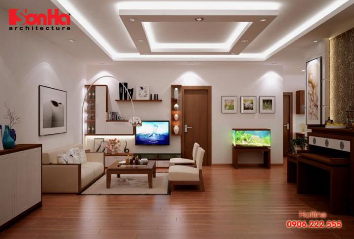 Thiết kế phòng khách ấm áp với sàn gỗ và nội thất gỗ tạo hình đẹp