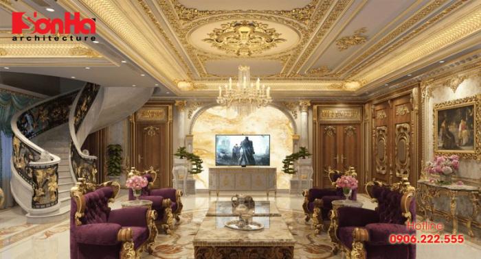 Thiết kế phòng khách có cấu thang phong cách luxury lộng lẫy