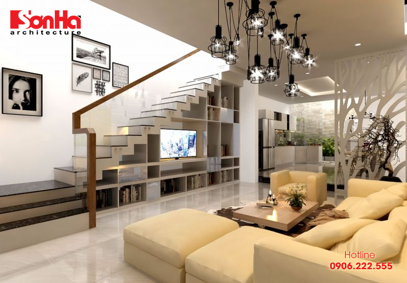 Thiết kế phòng khách hiện đại có cầu thang được bố trí phong thủy