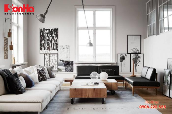 Thiết kế phòng khách hiện đại nội thất màu sắc giản dị hợp thời