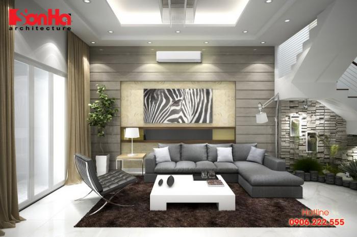Thiết kế phòng khách nhà ống với gam màu nhã nhặn và có chiều sâu