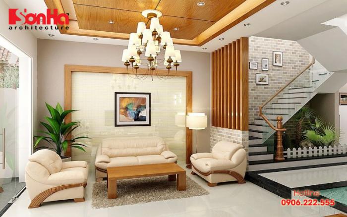 Thiết kế phòng khách nhà phố đẹp với trang trí đèn chùm đẹp mắt tinh tế