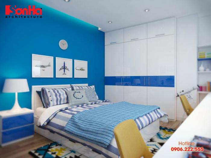 Thiết kế phòng ngủ bé trai trang trí màu xanh ấn tượng và đẹp mắt