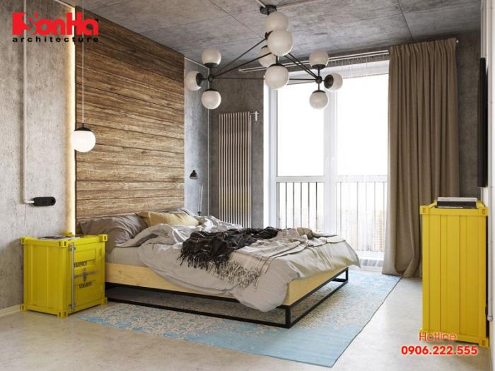Thiết kế phòng ngủ phong cách công nghiệp với cách đặt giường hợp lý