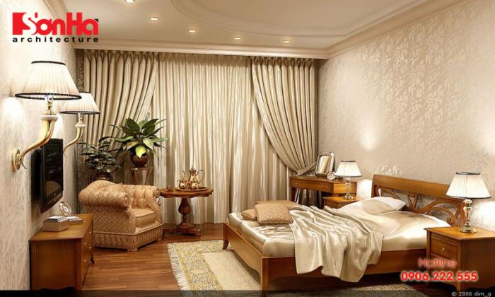Thiết kế phòng ngủ tân cổ điển nổi bật với nội thất gỗ và gam màu hợp thời