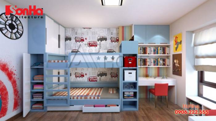 Thiết kế phòng ngủ trẻ em với giường tầng và trang trí nhiều màu sắc