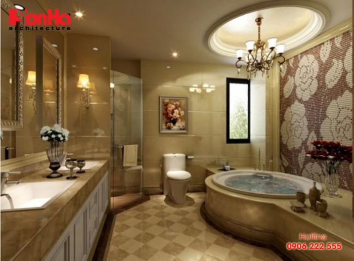 Thiết kế phòng tắm biệt thự cổ điển được trang bị vật dụng tiện nghi
