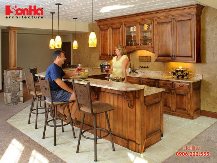 Thiết kế tủ bếp kết hợp quầy bar mang đến nhiều sự thuận lợi và thẩm mỹ bếp đẹp