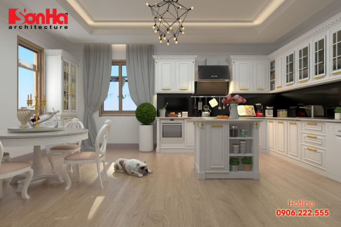 Trang trí nội thất phòng bếp ăn cổ điển với nội thất gỗ sơn màu trắng bắt mắt