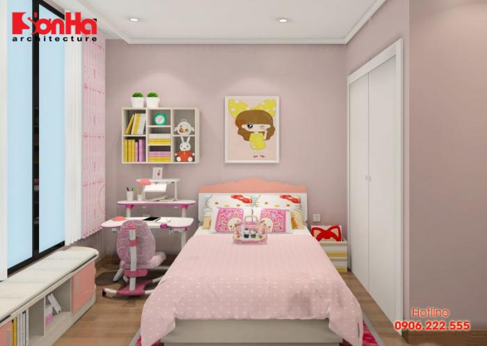 Trang trí phòng ngủ cho bé với màu hồng phấn tươi tắn thần tiên