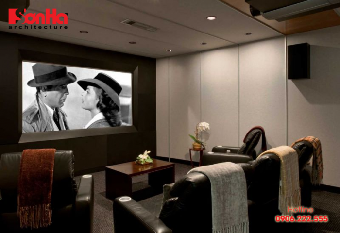 Ví dụ cho mẫu kệ tivi kết hợp không gian chiếu phim tại nhà cho phòng khách