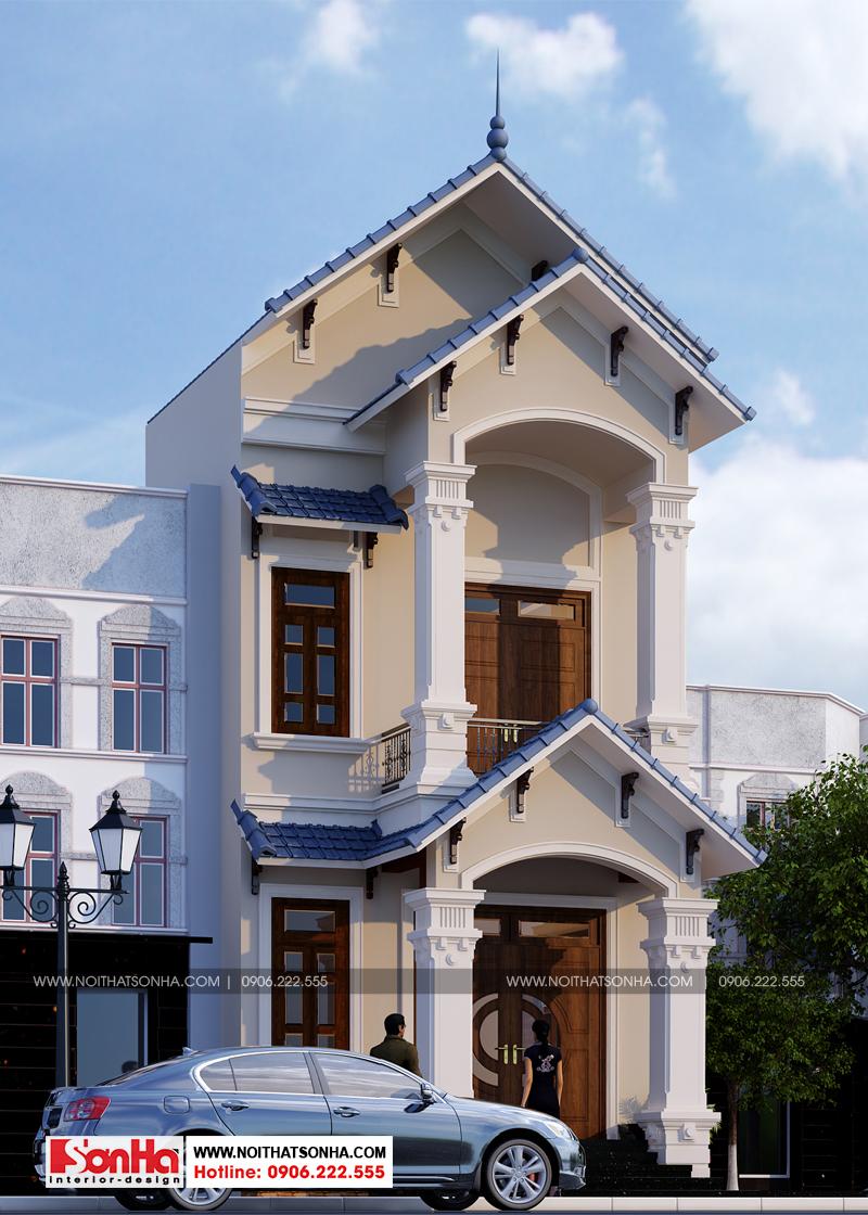 Phương án thiết kế kiến trúc nhà phố tân cổ điển 2 tầng tại Phú Thọ